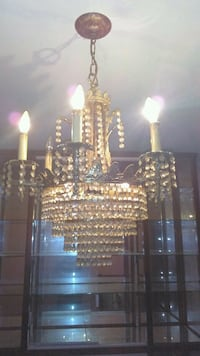 Spain made brass and crystal chandelier.  Caddo, 74729