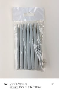 Curry's Art Store Unused Pack of 7 Tortillons/Paper Stumps Oakville, L6M 5A9