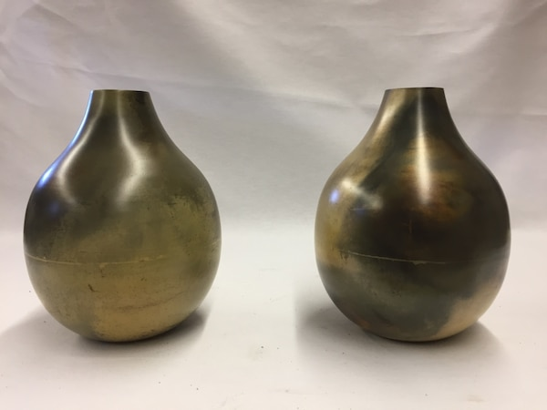 Used Pair Of Crate Barrel Brigham Metal Vases Brand New For Sale