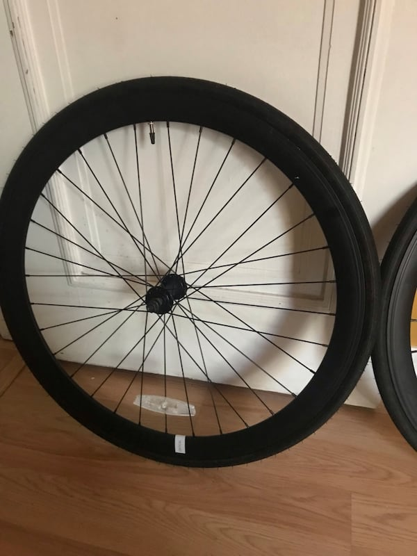 Fixie bike wheels    700c deep V wheel set with tire/tube.   Black 3889d6c2-c10e-4692-b142-51702b2c273f