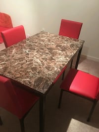 Metal and Faux Marble Dining table with 4 chairs Silver Spring, 20910