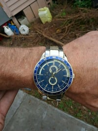 round blue and silver-colored analog chronograph watch with link bracelet North Fort Myers, 33903