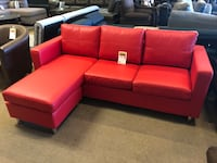 red leather sectional sofa with ottoman Phoenix, 85018