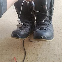 pair of black snowboard boots