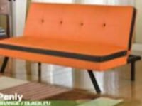 orange and black quilted armless futon