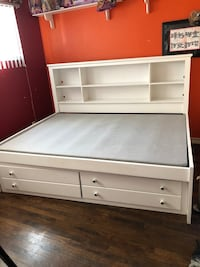 White wooden bed frame with storage La Mirada, 90638