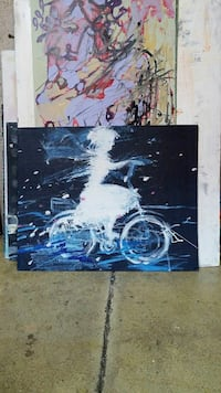 woman ride in bicycle painting, acrylic on board  Toronto, M6R 3C2
