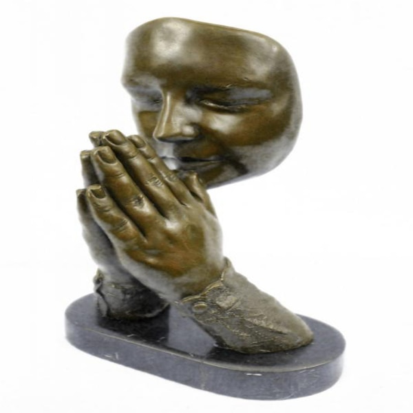 Amen Pray Bronze Sculpture on Marble Base Statue (13X9 Inches) 24b0633c-1e64-45d9-b3ea-1b1ace53a0be