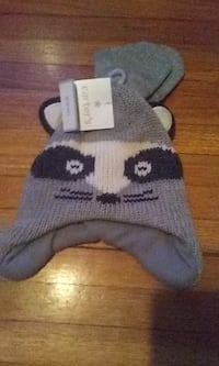 Boys 12-24 Month Raccoon Hat and Mitten Set from Carters.Brand new