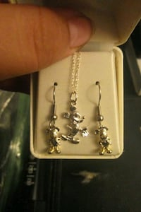 Sterling silver Mickey Mouse necklace and earrings Warren, 44483