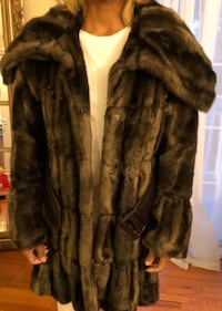 Faux fur coat.  Brown.  Size S
