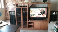 brown wooden TV hutch with flat screen television Monroe Township