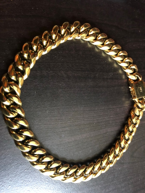 """d06d79513cf3f Miami Cuban Link Chain 18mm 20"""" Real 14k gold Over Stainless Steel"""