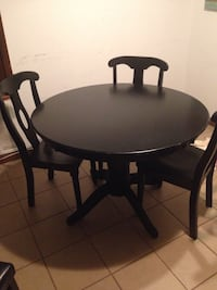 Round black wooden table with four chairs dining set Rex, 30273