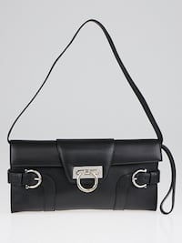 SALVATORE FERRAGAMO Black Leather Motherwell Clutch Bag Greenbelt