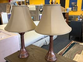 New Pair Of Copper Brown Table Lamps