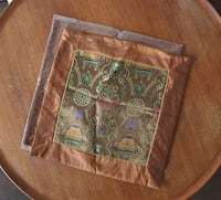 NEW Bronze/Copper Oriental design satin cushion covers, set of 2 Montreal