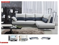 TOP GRAIN LEATHER SECTIONAL GRAY / NAVY Clifton, 07013