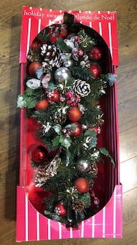green, red, and silver garland with baubles Abbotsford, V2T 4M9