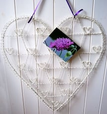 Brand New Vintage Style Silver Wire Heart Memo Card Photo Holder - Large