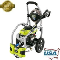 black and green Ryobi pressure washer