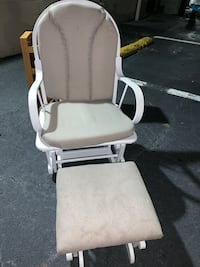 Painted White, Real Wood, Gray Cushions, Glider
