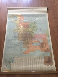 1979 Large 42x65 vintage Las Vegas Aerial Map With Plastic Cover