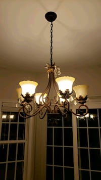white and brown uplight chandelier Tysons