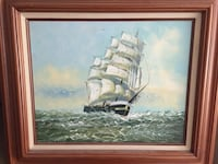 Brown wooden framed painting of galleon ship Island Park, 11558