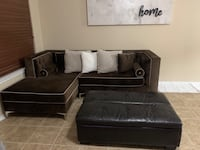 BEAUTIFUL Brown Velvet Couch and Ottoman