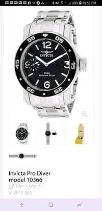 Invicta Pro Diver men's watch model 10366 Clearwater
