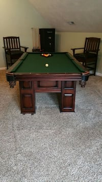Billiard Table, Chairs, and Wall Rack