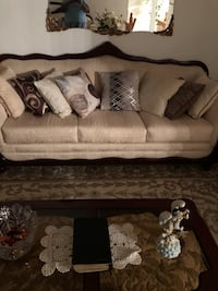Living room Sofas, 2 lamps and 6 pillows. Just reduced