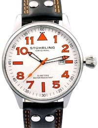 Stuhrling Original Men's Eagle Stainless Steel Leather Strap Watch