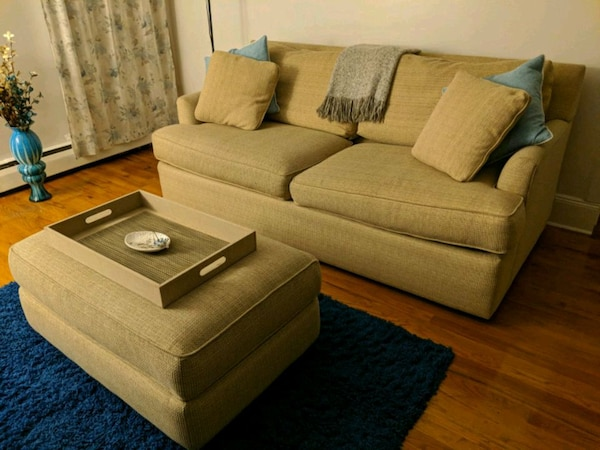 Used Tan Fabric Sectional Sofa With Ottoman For Sale In New York Letgo