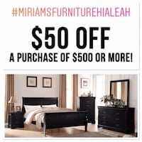 Four piece queen bedroom set bed dresser mirror  and one night stand Hialeah
