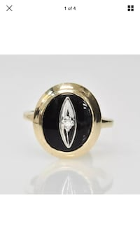 Black onyx and diamond evil eye ring Laval, H7M 3G4