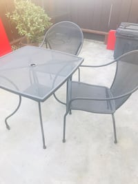 two black metal framed glass top tables Los Angeles, 91607