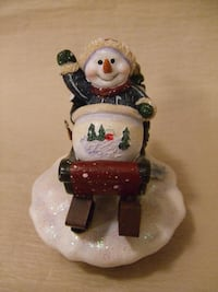 Home Interiors Jar Candle LID TOPPER - Snowman On Sled Orland Park