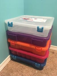 red and white plastic toy organizer Edmonton, T6T 1T3