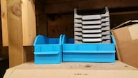 blue wooden 3-tier rack