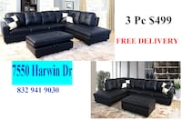 black leather sectional couch with ottoman HOUSTON