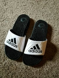 pair of black-and-white Adidas slide sandals Alexandria, 22312