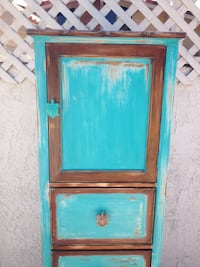 Blue and brown wooden 5-drawer chest