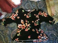 black, pink, and green floral sleeveless shirt Tehama
