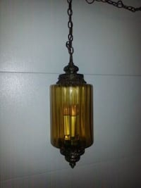 ANTIQUE VINTAGE-Mid Century Hanging Swag Lamp Amber Glass Globe Light  Chicago, 60639