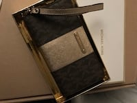 Black and gray leather wristlet