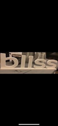 """Themed """"BLISS"""" Wood Accent Sign White Free Standing/Wall Mounting Richmond, V7E"""