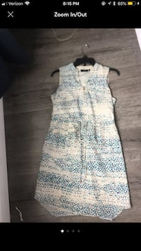 white and blue floral sleeveless dress