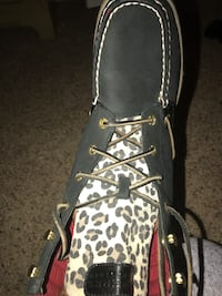black and white leopard leather work boot